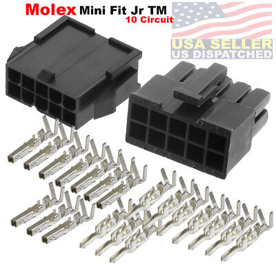 Molex 10-pin Black Connector Pitch 4.20mm W18-24 Awg Pin Mini-fit Jr