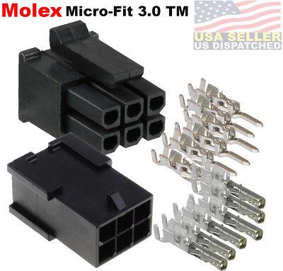 Molex 6 Circuits Male Female Housing W Pins 20-24 Awg Micro-fit 3.0