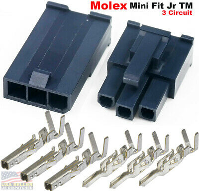 Molex 3 Pin Black Connector 4.20mm W18-24 Awg Pin Mini-fit Jr Glow Wire Capable