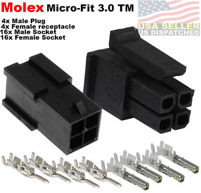 Molex -4 Complete Set - 4 Circuit W20-24 Awg Wire Connector Micro-fit 3.0