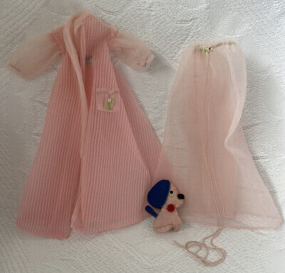 Vintage Barbie Mattel Tagged Doll Clothes Outfit #965 NIGHTY NEGLIGEE With DOG