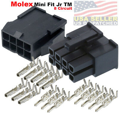 Molex 8-pin Black Connector Pitch 4.20mm W18-24 Awg Pin Mini-fit Jr