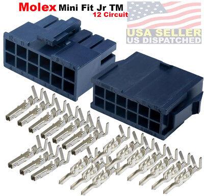 Molex 12-pin Black Connector Pitch 4.20mm W18-24 Awg Pin Mini-fit Jr