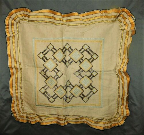 "Antique Vintage Throw Pillow Sham Yellow Fits 21x21"" Pillow #E2"