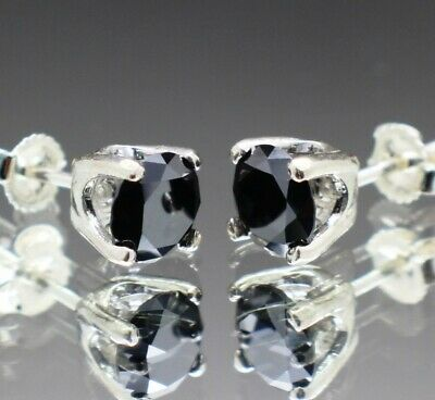 3.46tcw Real Natural Black Diamond Stud Earrings AAA Grade & $1930 Value ()