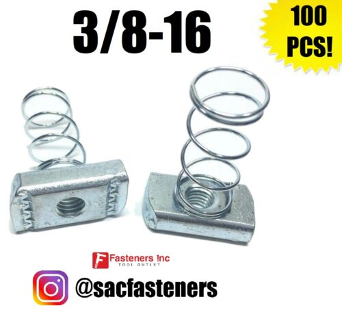 """(Qty 100) 3/8-16 Spring Nuts for Unistrut B-Line Channel P1008 #4121 3/8"""""""