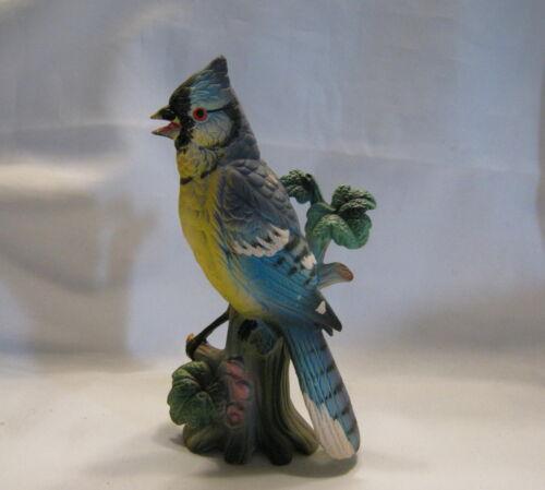 """Vintage Ceramic Blue Jay Bird On A Tree Stump 8"""" Figurine 10063 Japan V2"""