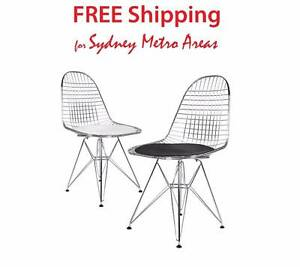 Clearance SALE - Eames Style Wire Chair (set of 2) Zetland Inner Sydney Preview