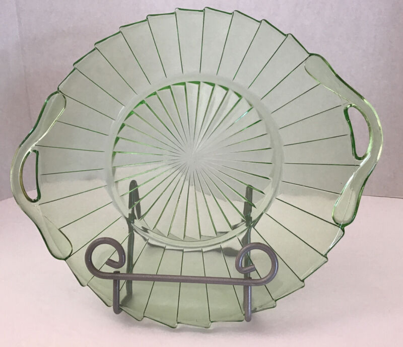 Sierra Pinwheel Green Depression Glass Jeanette Serving Platter 2 Handles