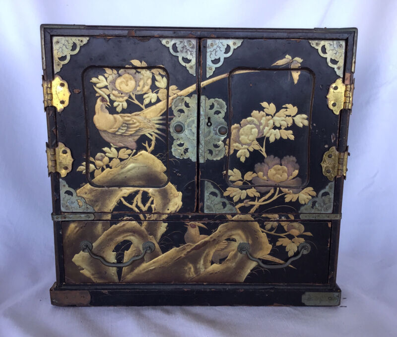 Antique Japanese Black Lacquer And Gold Kodansu Small Table Cabinet