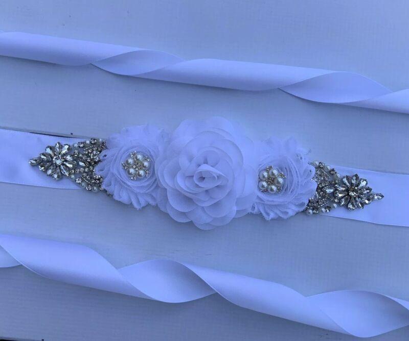 White Flowers ,Rhinestone ,Crystal Wedding / Bridal Sash Belt