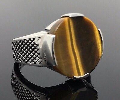 .925 Sterling Silver Tiger's Eye Elegant Design Men's Ring K3Z-Best Gift for