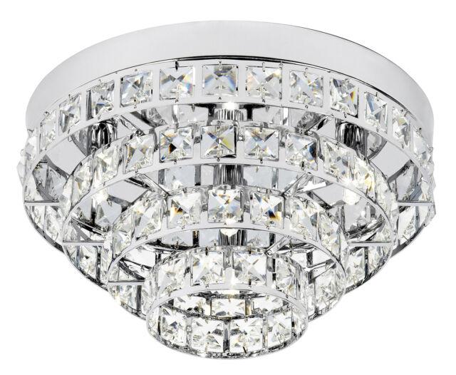 Endon Motown flush ceiling light 4x 33W Chrome effect & clear crystal (k5) glass