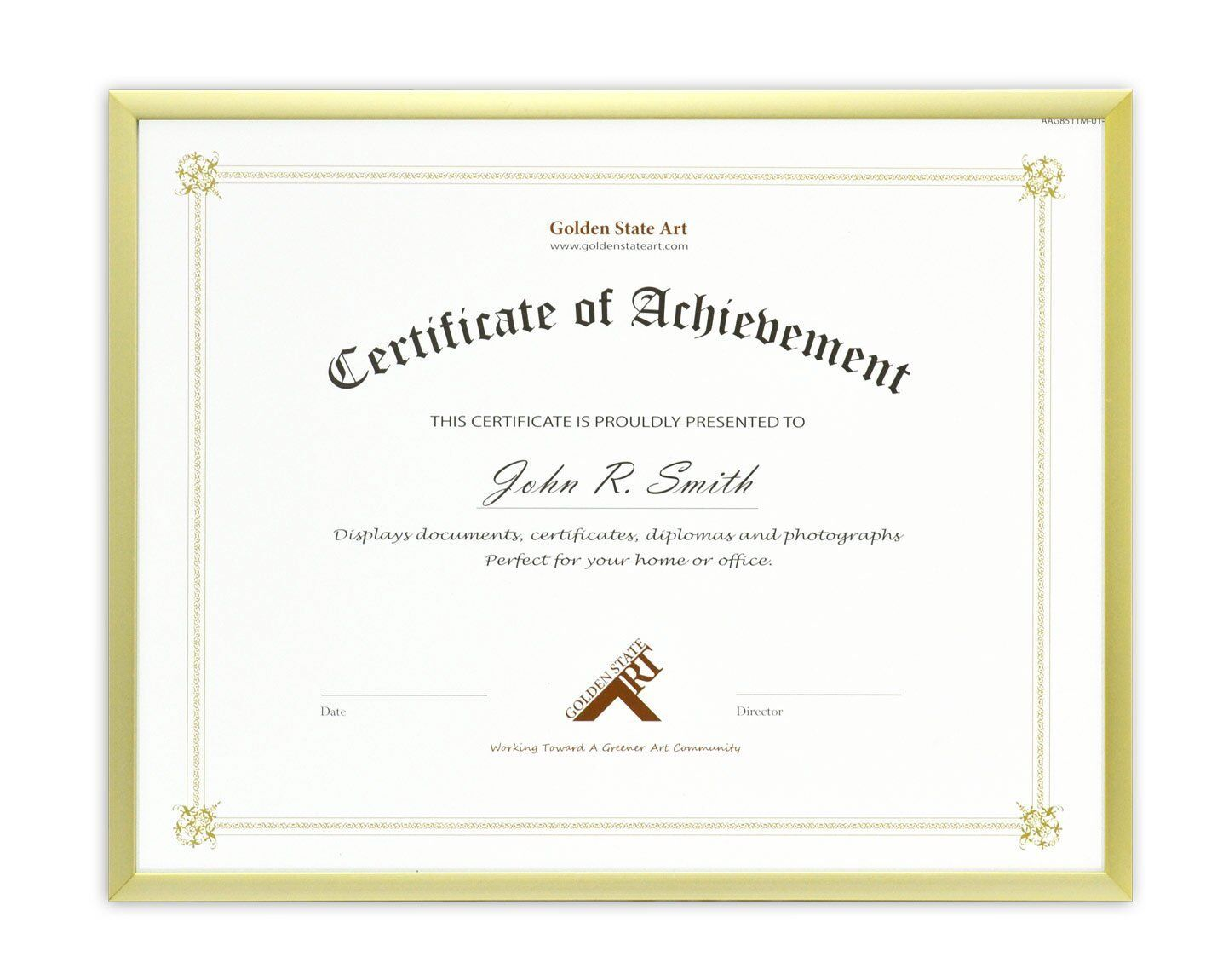 Document Diploma Certificate, 8.5x11 Aluminum Gold Photo Fra