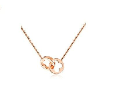 Rose Gold Titanium Stainless Steel Flower Lucky Clover Ring Pendant (Rose Titanium)