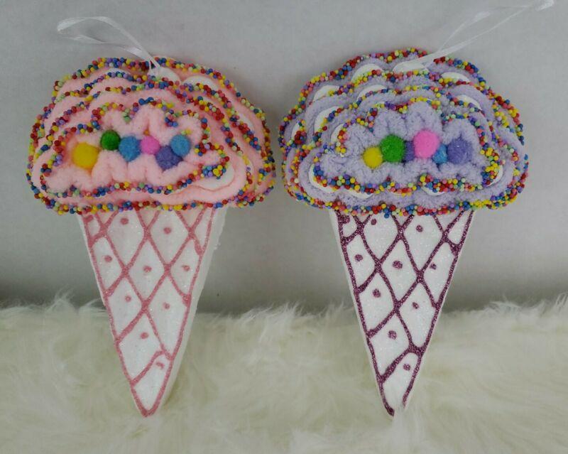 Ice Cream Cone Candy Christmas Tree Ornaments Pink Purple Sweet Treat 2 Piece