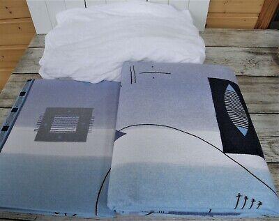 Fein Biber Bettwäsche 3 teilig Baumwolle Blau 135 x 200 cm