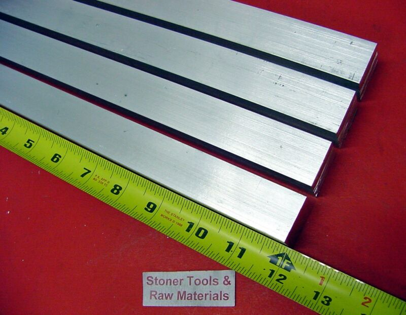 "4 Pieces 1"" X 1"" ALUMINUM 6061 SQUARE BAR 12"" long T6511 Solid New Mill Stock"