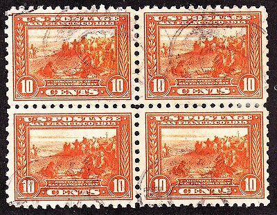 US 404 10c Panama-Pacific Used Block of 4 XF SCV $500