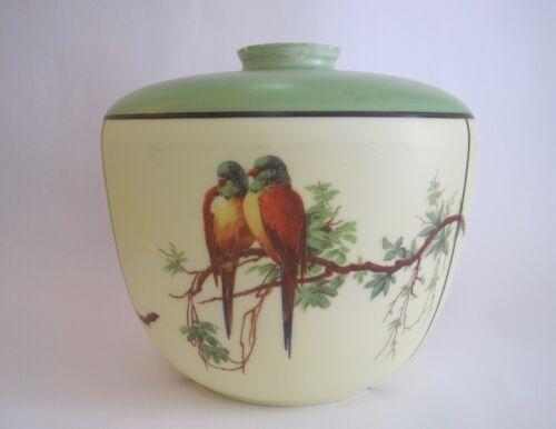 antique ART DECO PAINTED GLASS CEILING HANGING GLOBE LIGHT FIXTURE birds parrots
