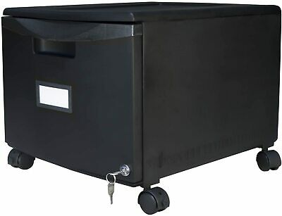 Plastic 1-drawer Mobile File Cabinet All-steel Lock And Key Black