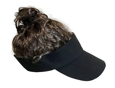 THE MAN BUN VISOR with Brown Hair Knot - Trendy Men's Ponytail Halloween Costume