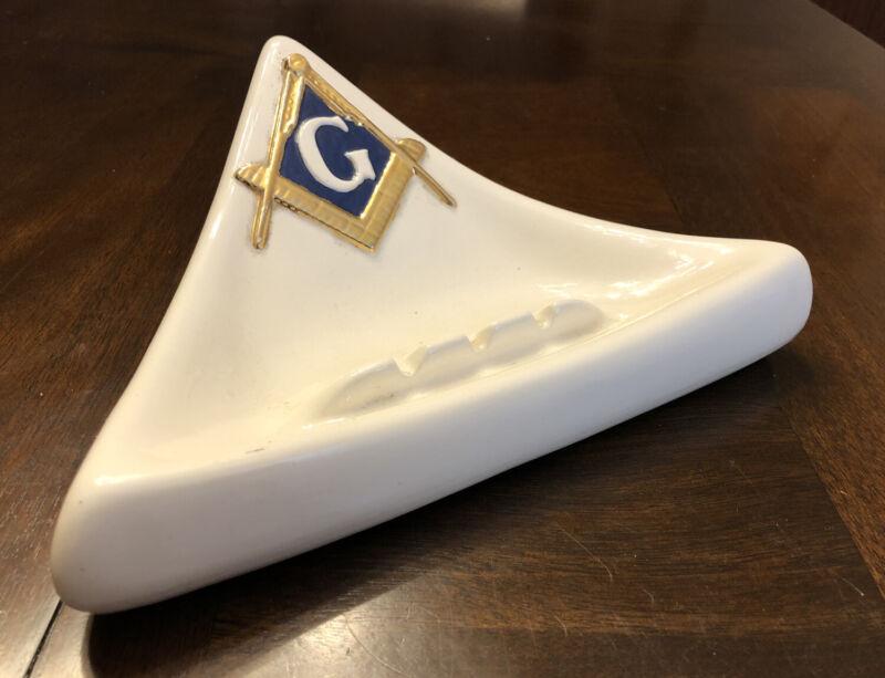 Vintage Freemason Masonic Ashtray White Gold Ceramic Atlantic Mold