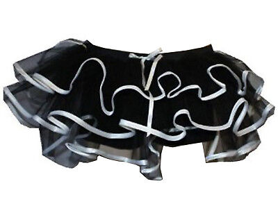 Pirat Tutu (NEW GOTHIC BLACK PIRATE FRILL TRIM LILLY TUTU SKIRTS HALLOWEEN FANCY DRESS 6-14)