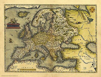 Europe in 1570 - reproduction of a map by Abraham Ortelius