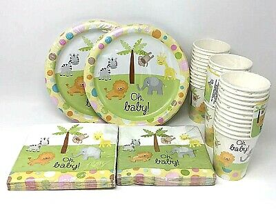 Baby Shower Plates Cups Napkins (Oh Baby! Yellow Baby Shower Set: 36 cups, 40 Napkins, 36 Plates Animals)