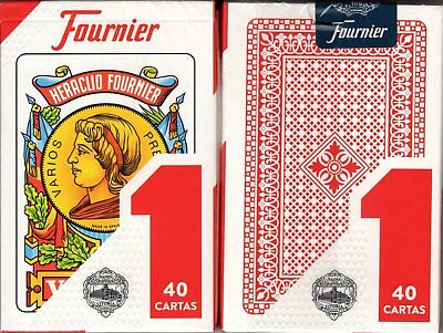 Heraclio Fournier No. 1 Spanish Red Playing Cards New Factory Sealed 40 Cartas