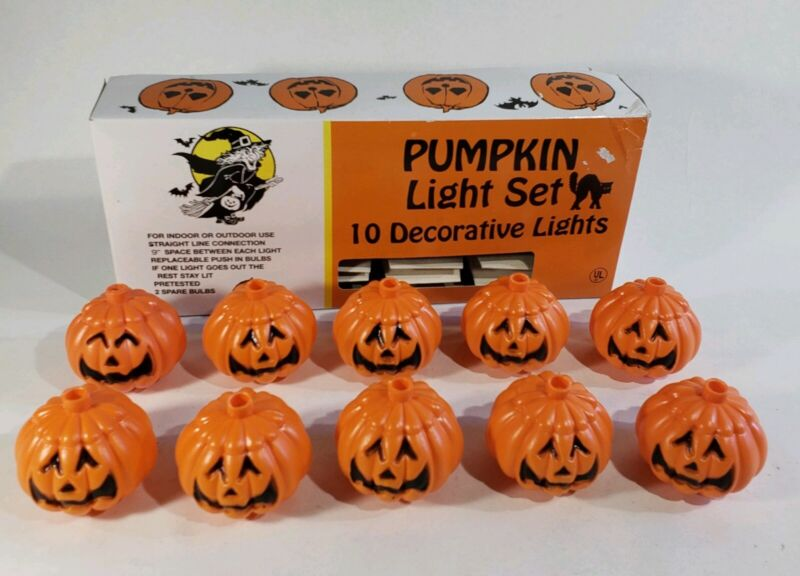 10 Decorative Pumpkin Light Covers - In Out Halloween Jack-o-lantern Orange