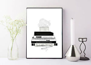 Fashion Magazine Vogue stacked books black and white drawing print/poster