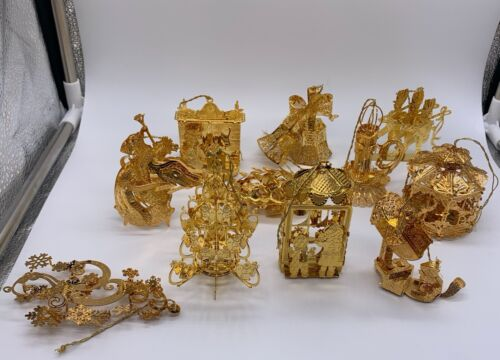 Lot of 11 Danbury Mint Gold Christmas Ornament Collection with Box Misc Years