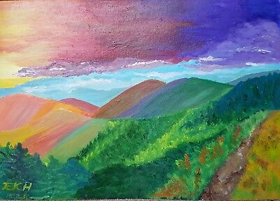 Original acrylic painting by EKH Rainbow Mountains hard board 16.5'' x 11.75''