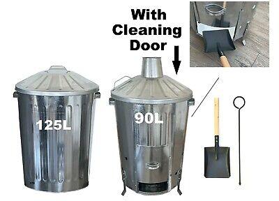 FULL KIT 90L Garden Waste Incinerator WITH DOOR + 125L Dustbin + Shovel & Poker