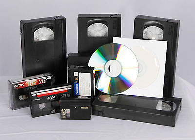 Video Tapes to DVD transfer VHS, VHSc, Mini DV, 8mm, Hi 8, Digital 8, DVD to DVD