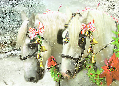 Decorated Pair of Percheron Horses Sleigh Bell Snow Scene Box 12 Christmas Cards