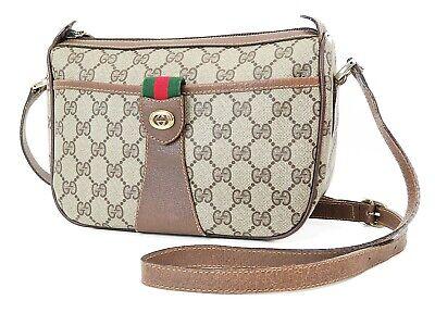 Auth Vintage GUCCI Brown GG PVC Canvas and Leather Shoulder Bag Purse #37303