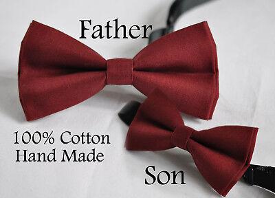 Father Son Match 100% Cotton Handmade ROSEWOOD DARK Red Bow Tie Bowtie Wedding Dark Red Bow Tie