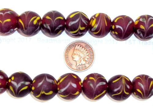 Red Combed Antique Venetian Combed Style Trade Bead   { 10 Beads }       Bin Y