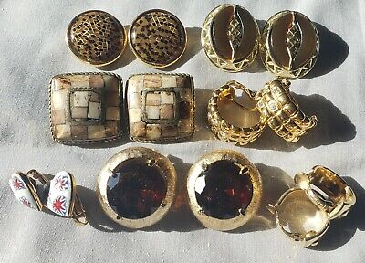 Clip Earring Lot Rhinestone Glass Syone Porcelain Enamel Thermoset Signed Sarah