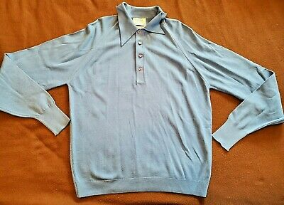 1970s Men's Shirt Styles – Vintage 70s Shirts for Guys VTG Thane Ban Lon Knit Polo Long Sleeve Shirt Mens Large Blue 1960s 1970s EUC $50.00 AT vintagedancer.com