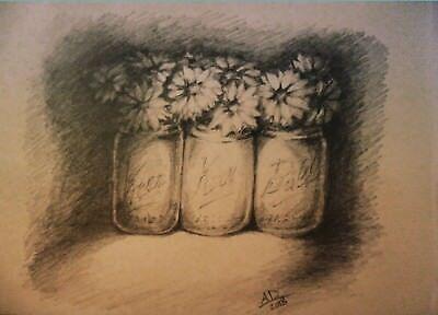 original pencil drawing flowers in mason jars](Flowers In Mason Jars)