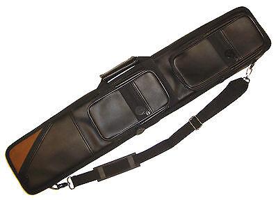 Billard 4/8er Queue Tasche Koffer Köcher Kunstleder glatt black Aufsatztaschen  ()