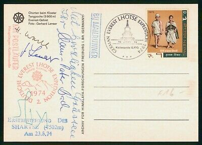 Nepal German Everest Lhotse Expedition Autographed Mail Runner 1974 Postcard