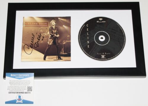 CELINE DION SIGNED FRAMED 'LIVE IN PARIS' CD COVER BOOKLET BECKETT COA BAS PROOF