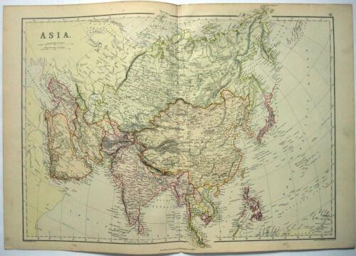 Original 1882 Map of Asia by Blackie & Son. China Japan India Indochina Malaya