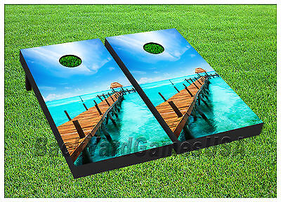 VINYL WRAPS Cornhole Boards DECALS Paradise Clear Water BagTossGame Stickers