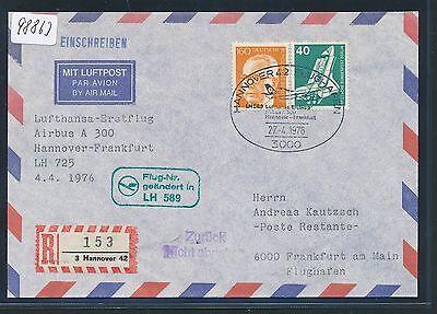 98863) LH FF Reco ! Hannover - Frankfurt 27.4.76, Brief MiF